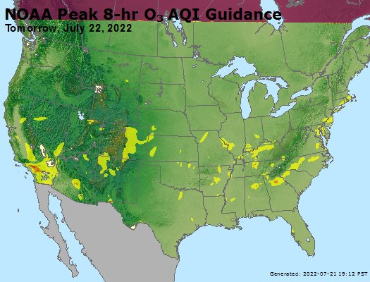 NOAA Peak 8-hr O3 AQI guidance - Tomorrow