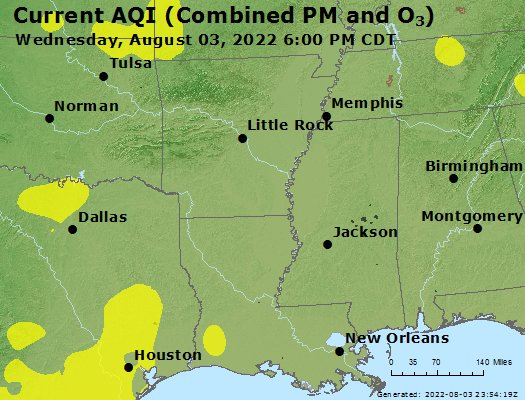 Current Map Of Louisiana.Airnow Louisiana Air Quality