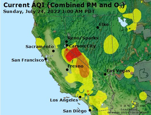 San Gabriel Valley Zip Code Map.Airnow California Air Quality