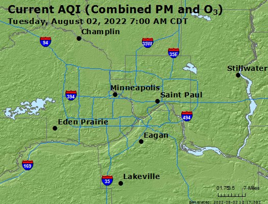 Zip Code Map St Paul Mn.Airnow Minneapolis St Paul Mn Air Quality