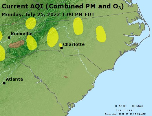 AirNow North Carolina Air Quality - A map of north carolina
