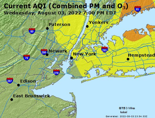 Map Of 287 New York.Airnow New York City Region Ny Air Quality
