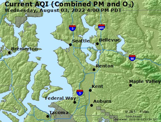 Seattle Map Wa.Airnow Seattle Bellevue Kent Valley Wa Air Quality