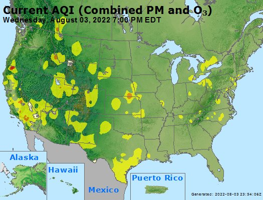 Air Quality Map from AIRNow