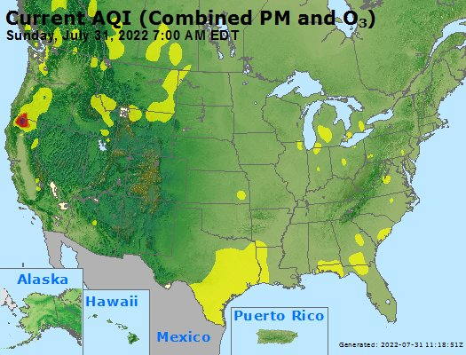 Today's AQI forecast USA map. Click for summary info.
