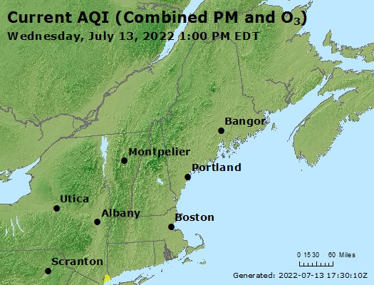 Current Ozone AQI Map for CT, NY and NJ