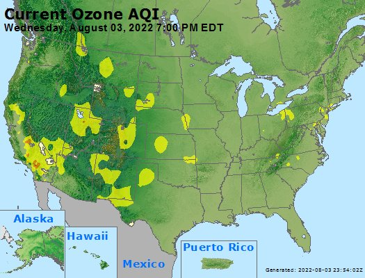 EPA AirNow Current US Ozone