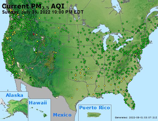 Hourly PM2.5 AQI